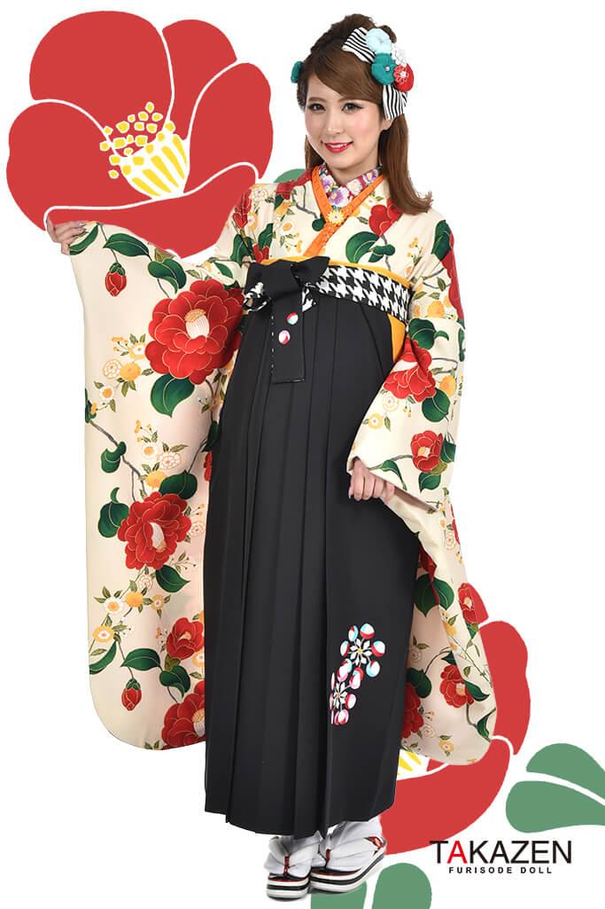 【卒業式袴レンタル/通販可】人気個性的レトロモダン(可愛い椿柄) RY053