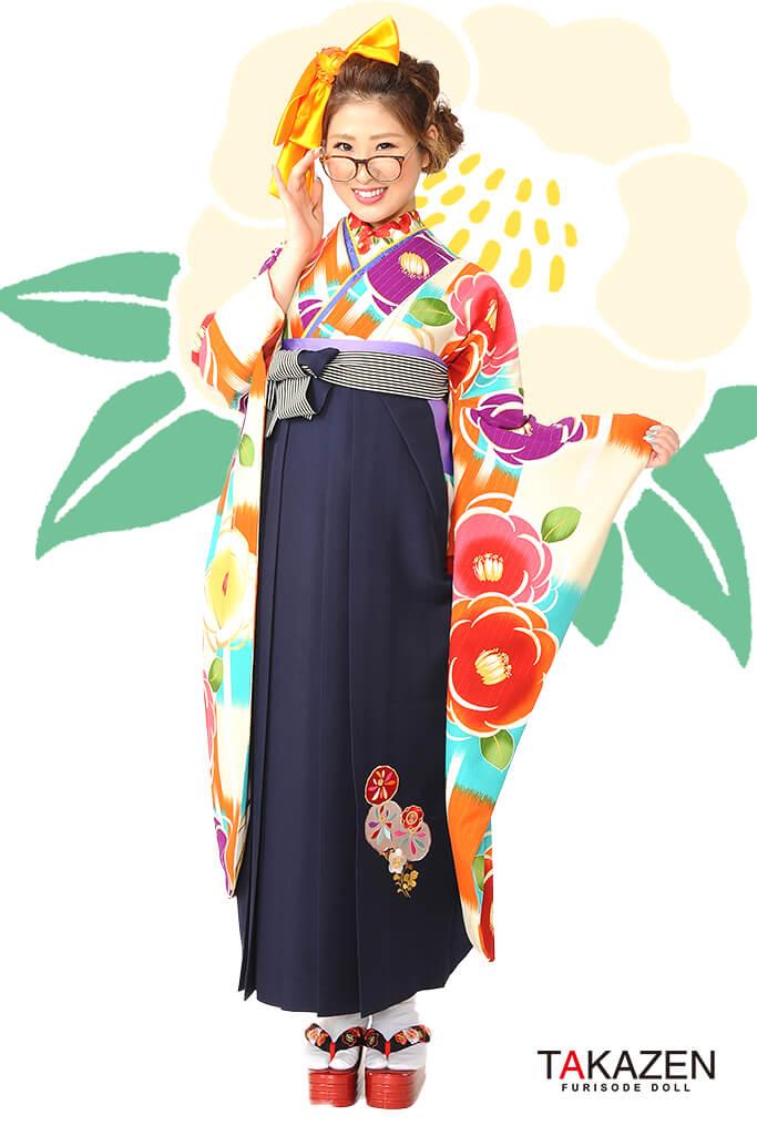 【卒業式袴レンタル/通販可】人気個性的レトロモダン(可愛い大柄椿柄) RY055