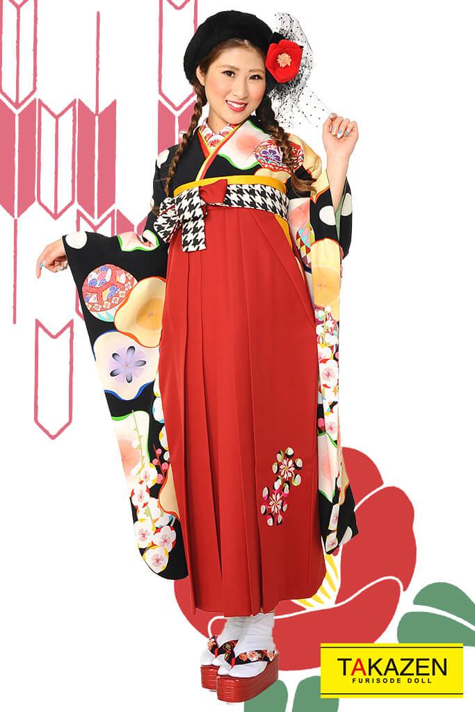 【卒業式袴レンタル/通販可】人気個性的レトロモダン(アンティーク大柄) RY056