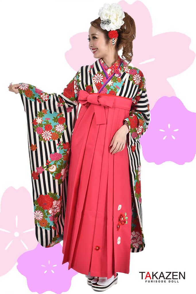 【卒業式袴レンタル/通販可】人気個性的レトロモダン(目立つストライプ柄) RY059