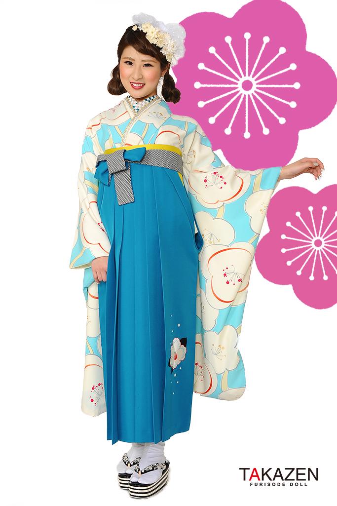【卒業式袴レンタル/通販可】人気個性的レトロモダン(目立つ派手梅柄) RY060