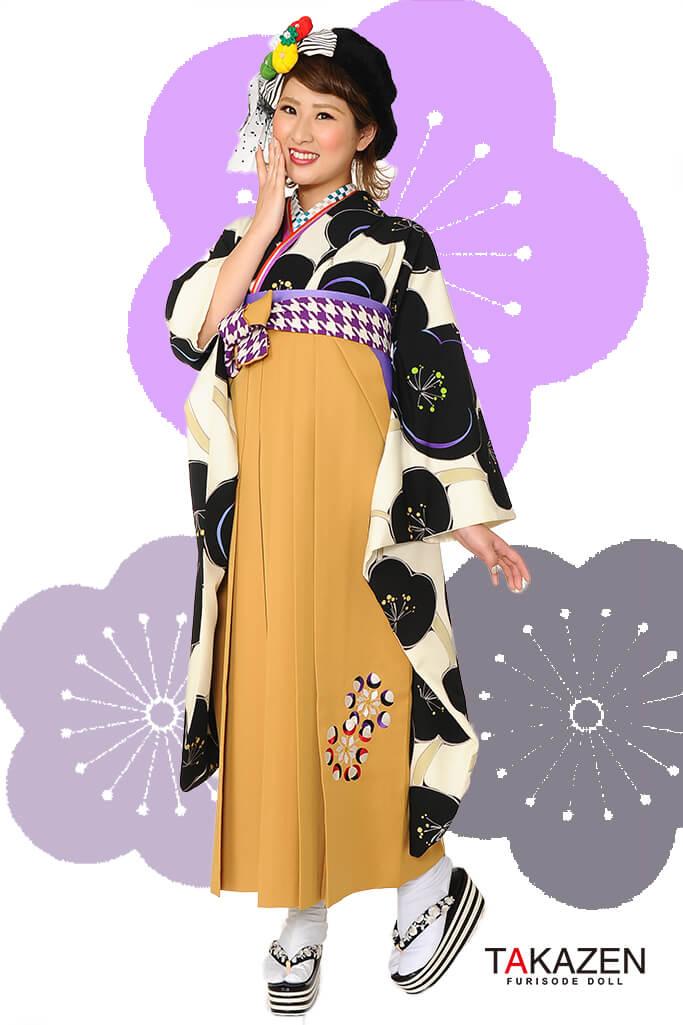 【卒業式袴レンタル/通販可】人気個性的レトロモダン(派手流行り梅柄) RY062