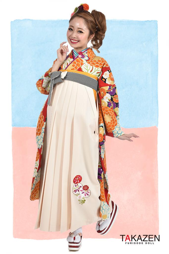 【卒業式袴レンタル/通販可】人気個性的レトロモダン(可愛い菊柄) RY064