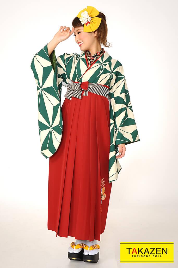 【卒業式袴レンタル/通販可】人気個性的レトロモダン(麻の葉柄) RY067