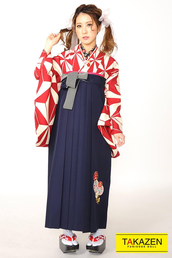 【卒業式袴レンタル/通販可】人気個性的レトロモダン(麻の葉柄) RY068