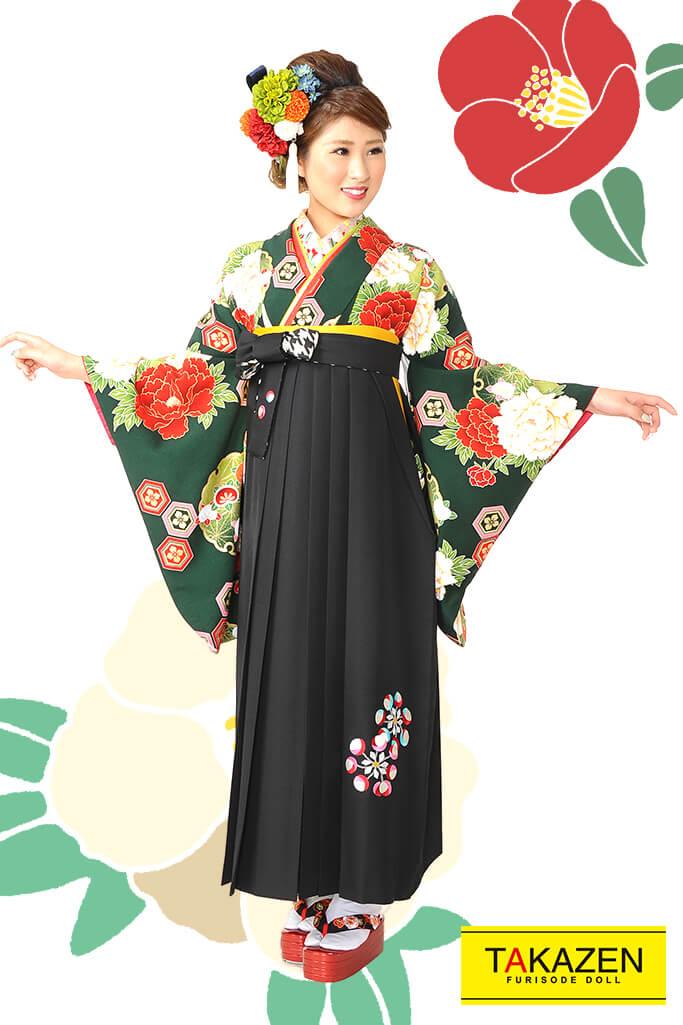 【卒業式袴レンタル/通販可】人気王道上品古典(大柄可愛い) RY078