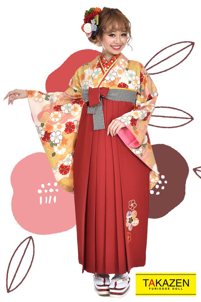 【卒業式袴レンタル/通販可】人気王道おしゃれ古典(大柄可愛い) RY080