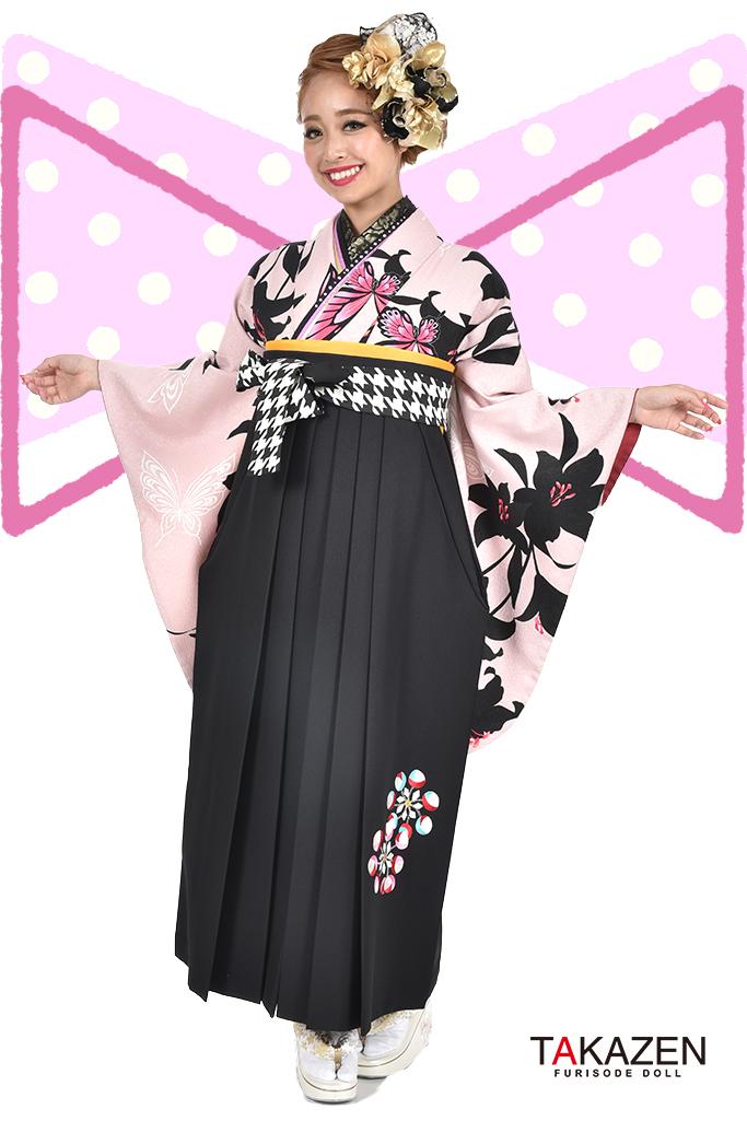 【卒業式袴レンタル/通販可】人気派手かわいい(蝶々柄目立つ) RY100