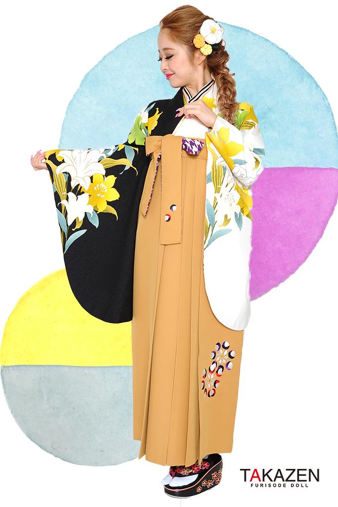 【卒業式袴レンタル/通販可】人気カッコイイ(可愛い百合柄) RY103