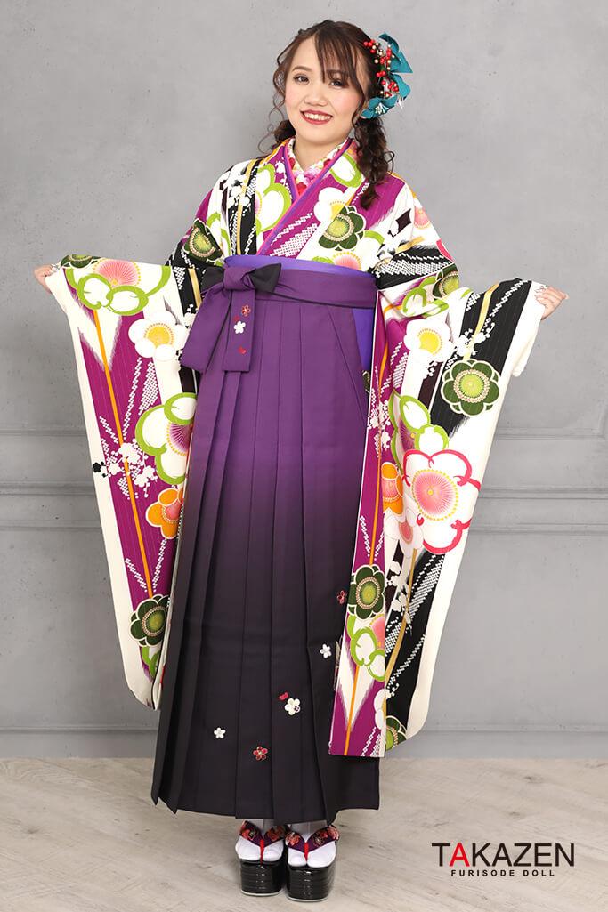 【卒業式袴レンタル/通販可】個性的レトロモダン(レトロポップ) 白/黒/紫 RY115