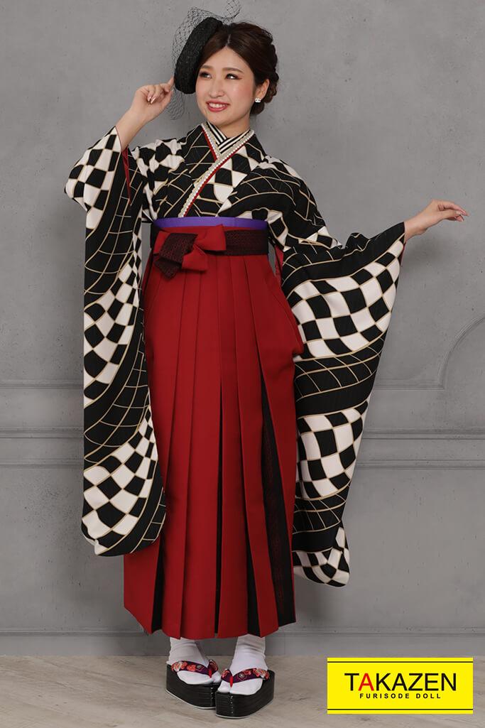 【卒業式袴レンタル/通販可】個性的レトロモダン(市松模様) 白/黒 RY118