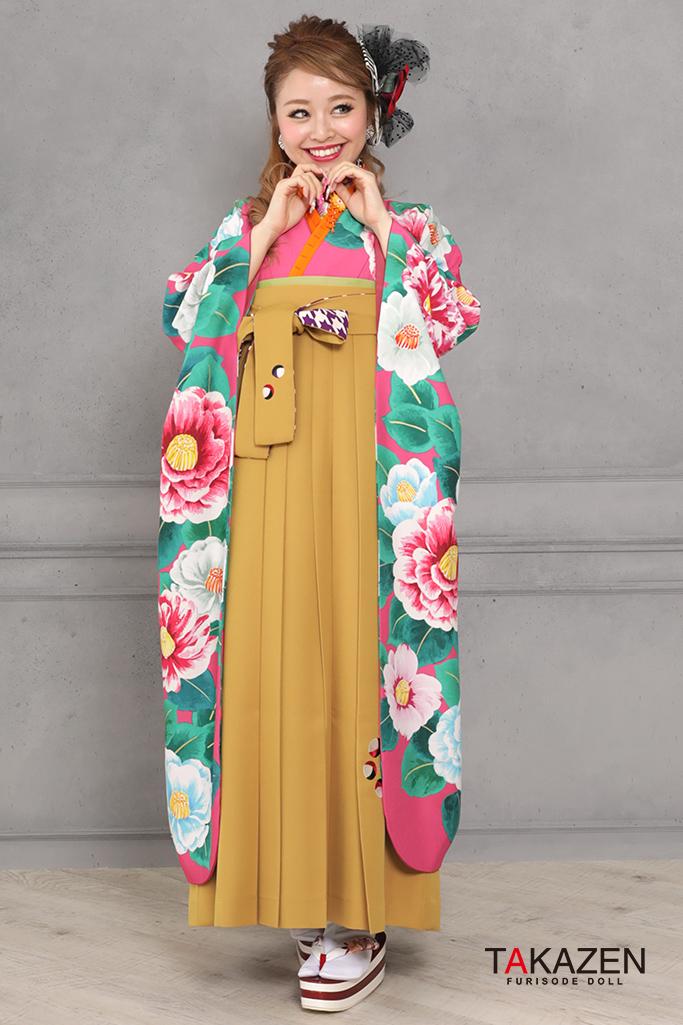 【卒業式袴レンタル/通販可】個性的レトロモダン(椿柄様) ピンク/ブルー(水色) RY119