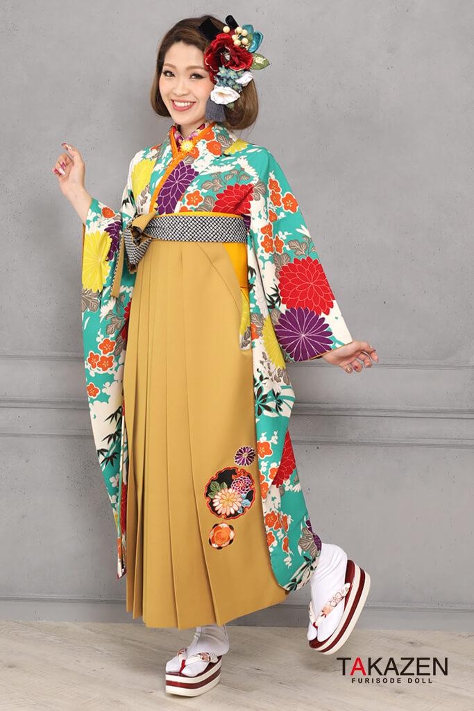 【卒業式袴レンタル/通販可】個性的レトロモダン(派手可愛い) 黄/紫/赤/ブルー(水色) RY120
