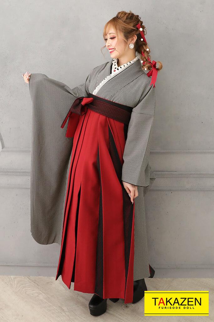 【卒業式袴レンタル/通販可】個性的無地レトロ(おしゃれ目立つ) 無地千鳥柄 RY123