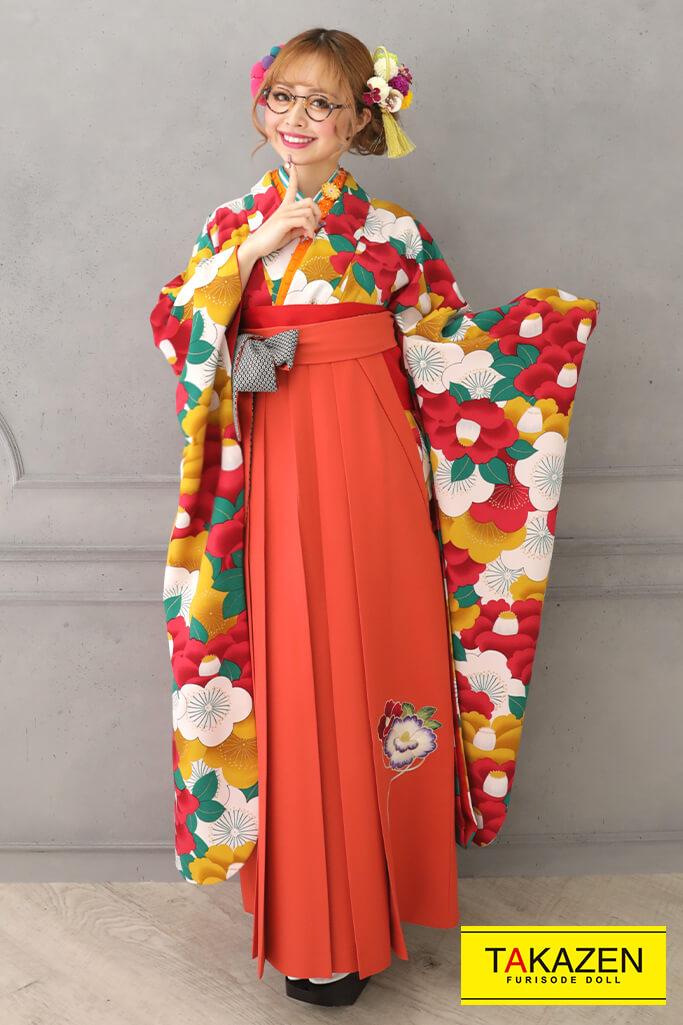 【卒業式袴レンタル/通販可】個性的レトロポップ(目立つ椿柄) 赤/オレンジ/グリーン(緑色) RY125