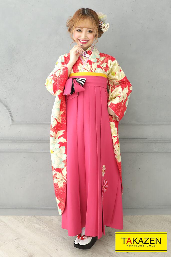 【卒業式袴レンタル/通販可】個性的キュートポップ(かわいいレトロ) ピンク/アイボリー RY126