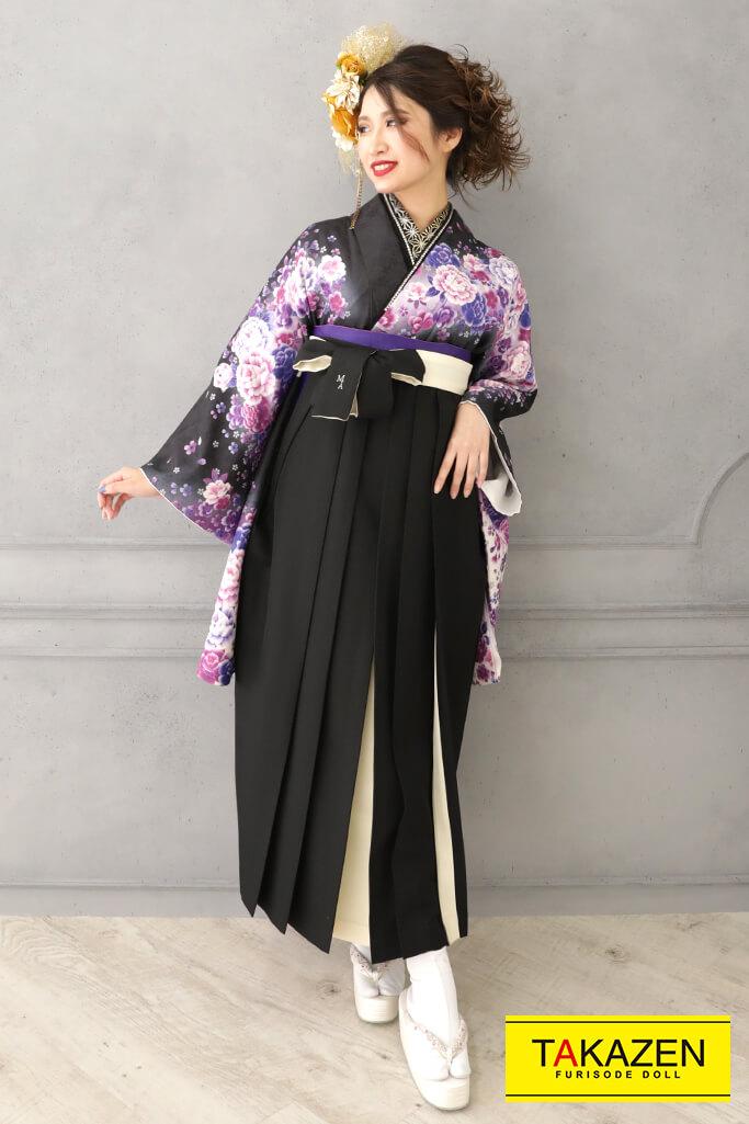 【卒業式袴レンタル/通販可】人気かっこいい系(クールな牡丹柄) 黒/紫 RY127