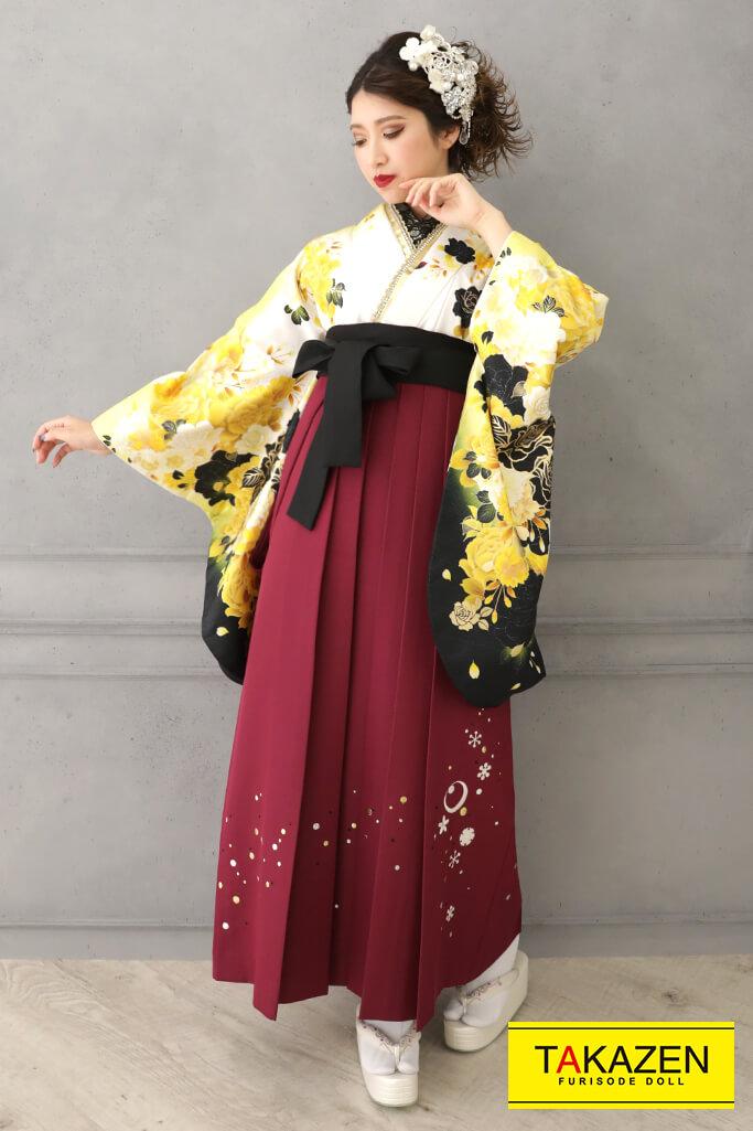 【卒業式袴レンタル/通販可】大人気グラマラス(派手かわいい) 白/黒/ゴールド(金色) RY128