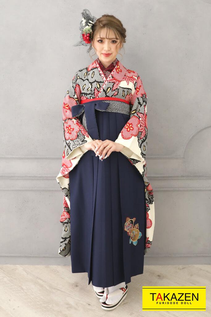 【卒業式袴レンタル/通販可】人気個性的古風レトロ(絞り風松柄) 白/赤/黒 RY129