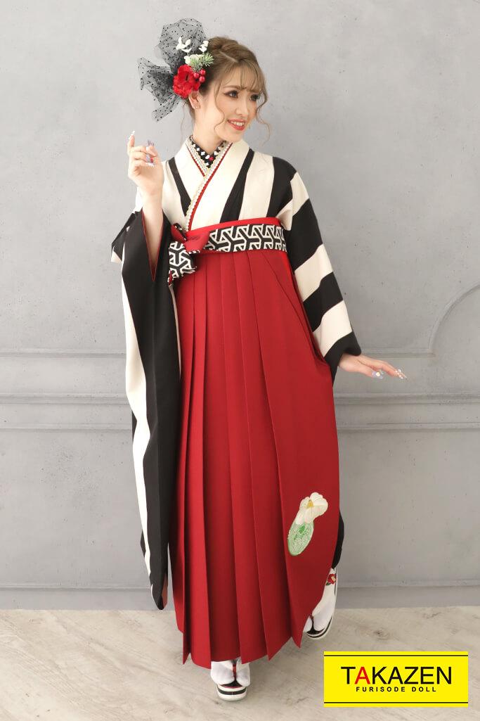 【卒業式袴レンタル/通販可】人気個性的レトロモダン(人と被らないストライプ) 白/黒 RY130