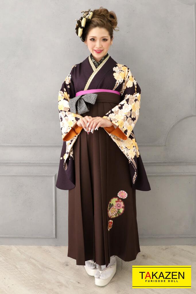 【卒業式袴レンタル/通販可】人気派手かっこいい系(渋い牡丹柄) 茶/黄/クリーム RY131