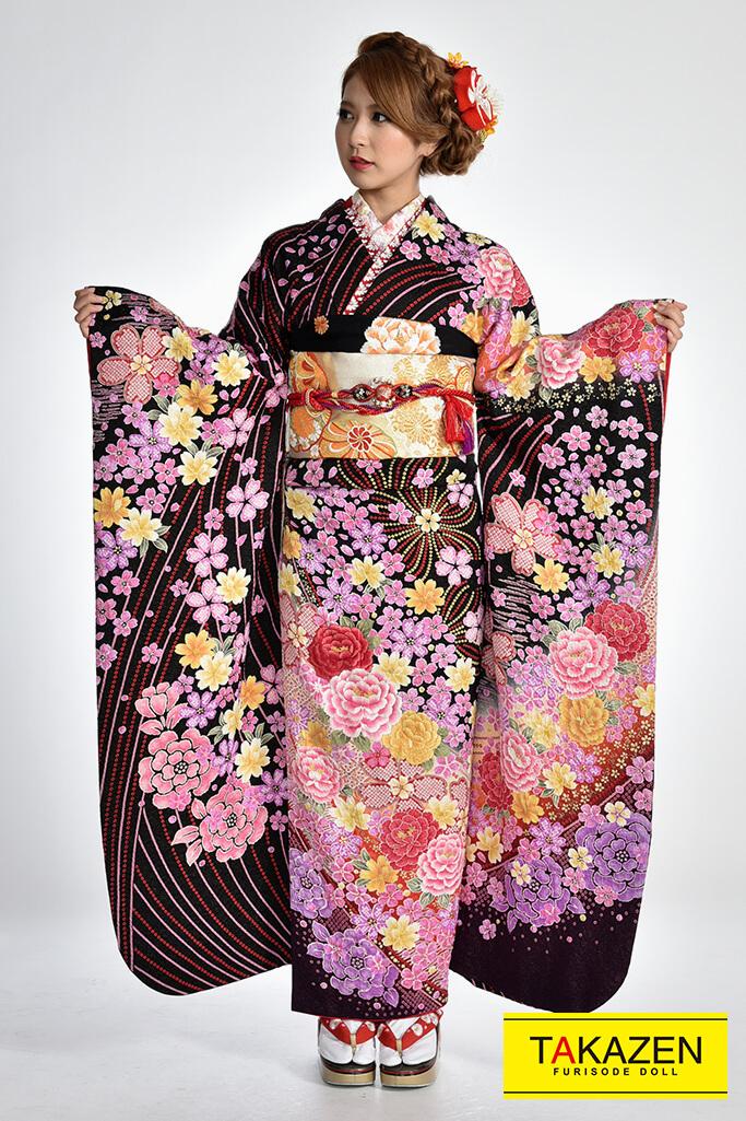 【 成人式人気振袖/レンタルフルセット/通販可】華やか/個性的古典(格安プライス) 茶/紫♡Y4019