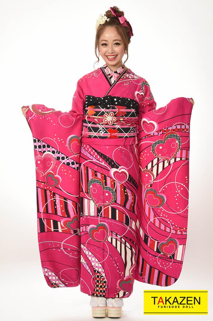 【 成人式人気着物/レンタルフルセット/通販可】スウィート&ラブリー(格安プライス) ピンク♡Y5001