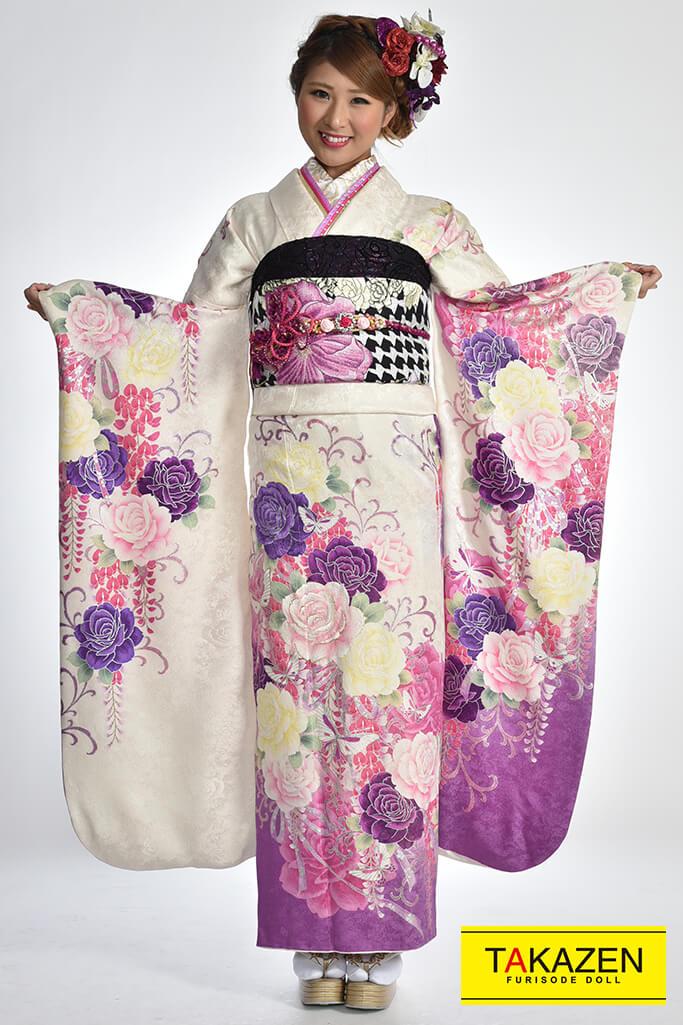 【成人式人気振袖/レンタルフルセット/通販可】可愛いバラ柄(お得な格安フルセット) 白/紫♡Y5002
