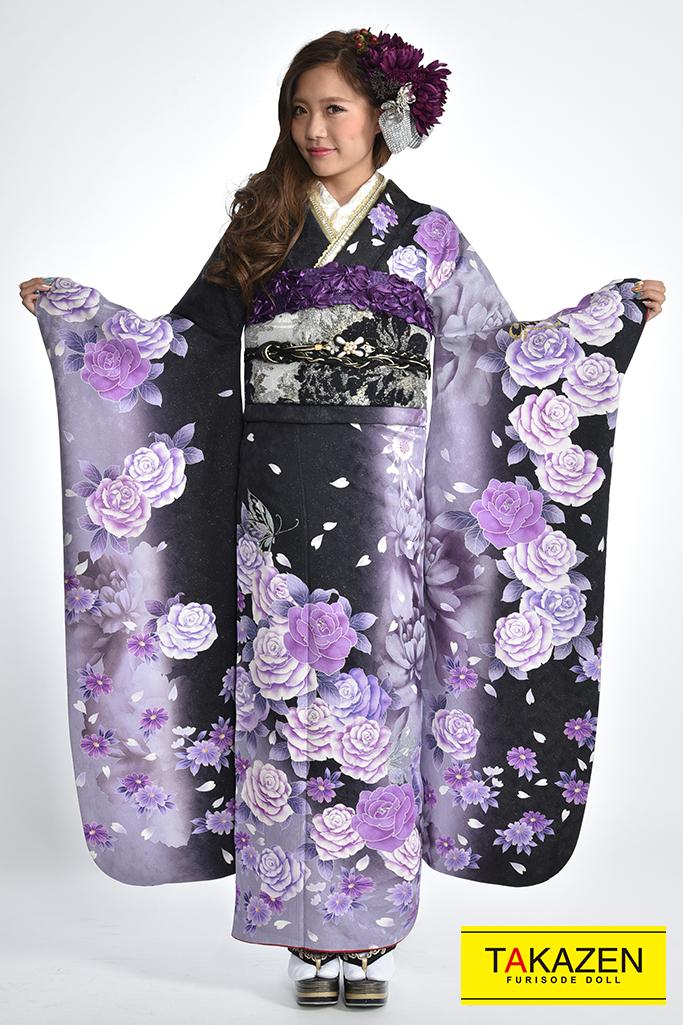 【成人式振袖/レンタルフルセット/通販可】人気カッコイイモード(安い) 黒/紫♡Y7015