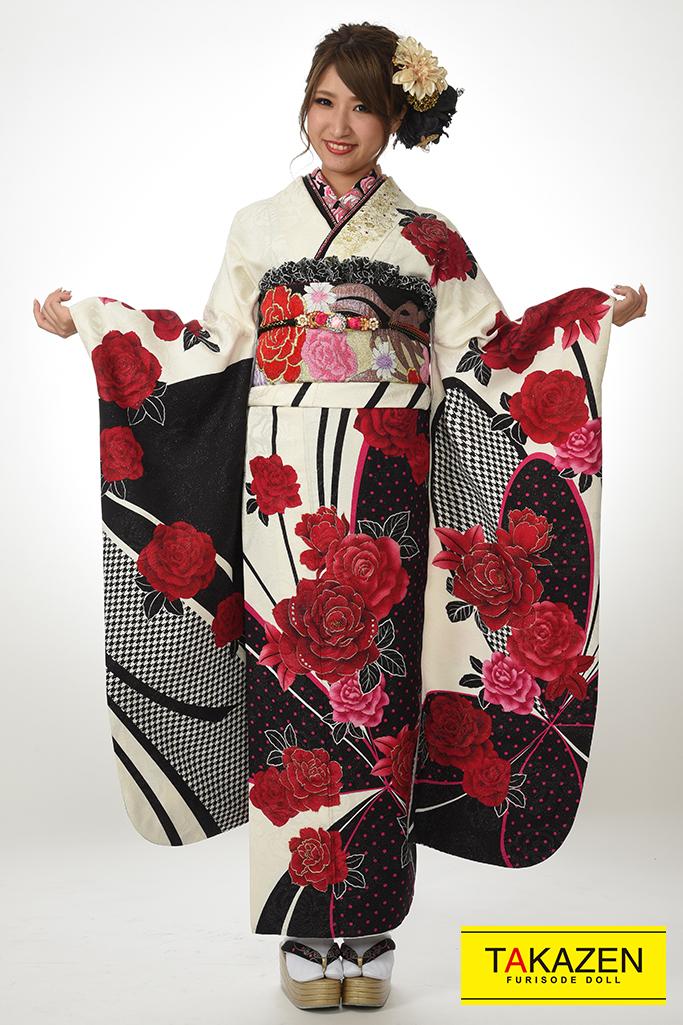 【成人式振袖/レンタルフルセット/通販可】派手可愛いクール系(激安プライス) 白/赤 Y7017