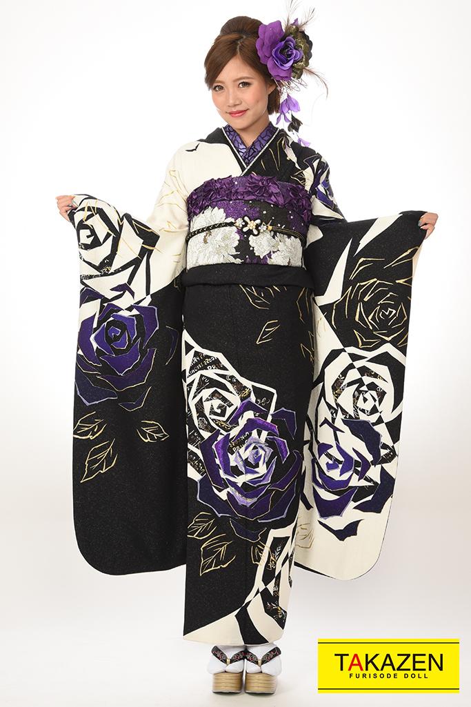 【成人式着物/レンタルフルセット/通販可】渋い人気モード(お得な格安フルセット) 白/黒/紫♡Y7019