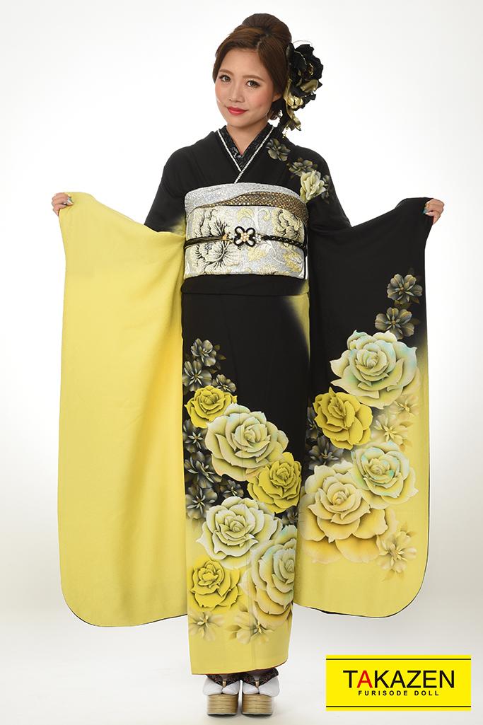 【成人式着物/レンタルフルセット/通販可】目立つクール薔薇柄(お得な格安セット) 黄/黒♡Y7034