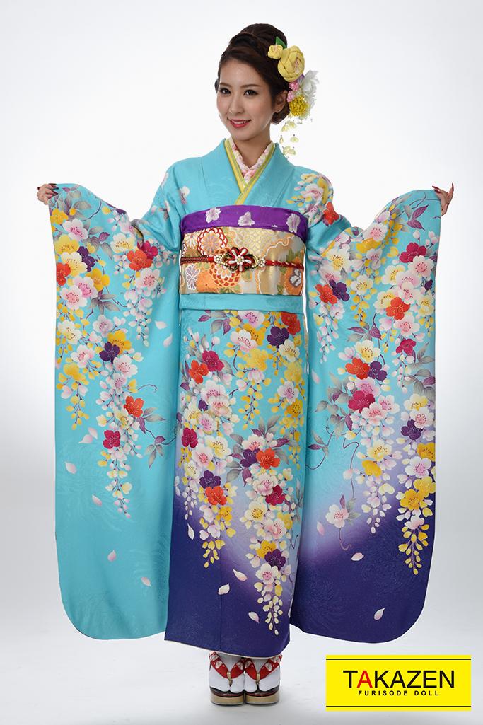 【成人式着物/レンタルフルセット/通販可】格安/清楚古典(綺麗) 水色/ブルー♡Y8008