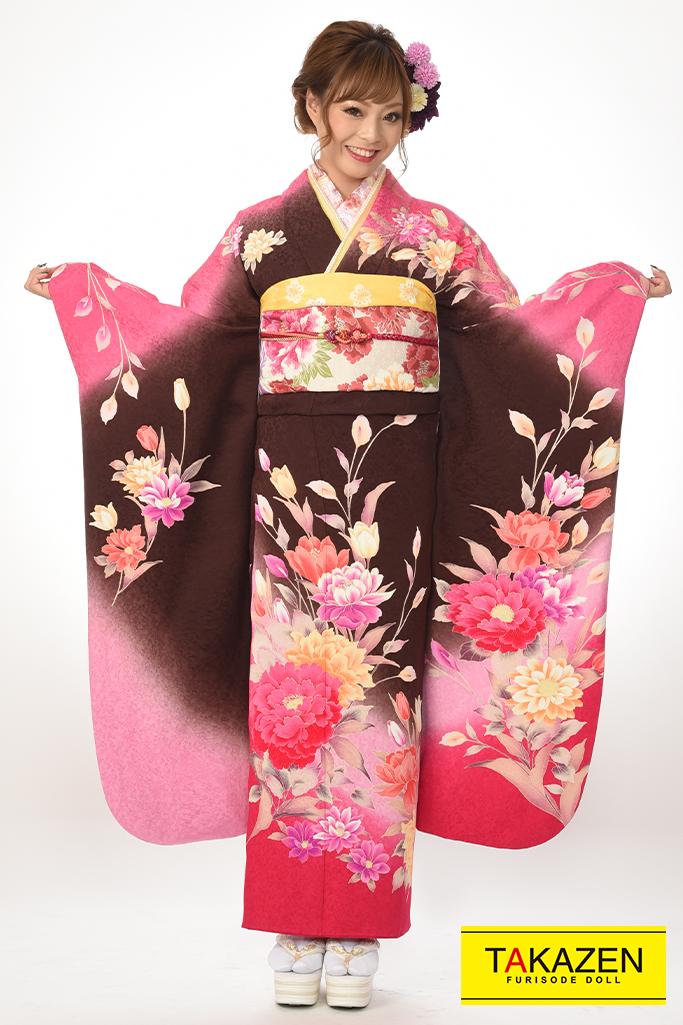 【成人式着物/レンタルフルセット/通販可】安い/目立つ古典 茶/ピンク♡Y8009