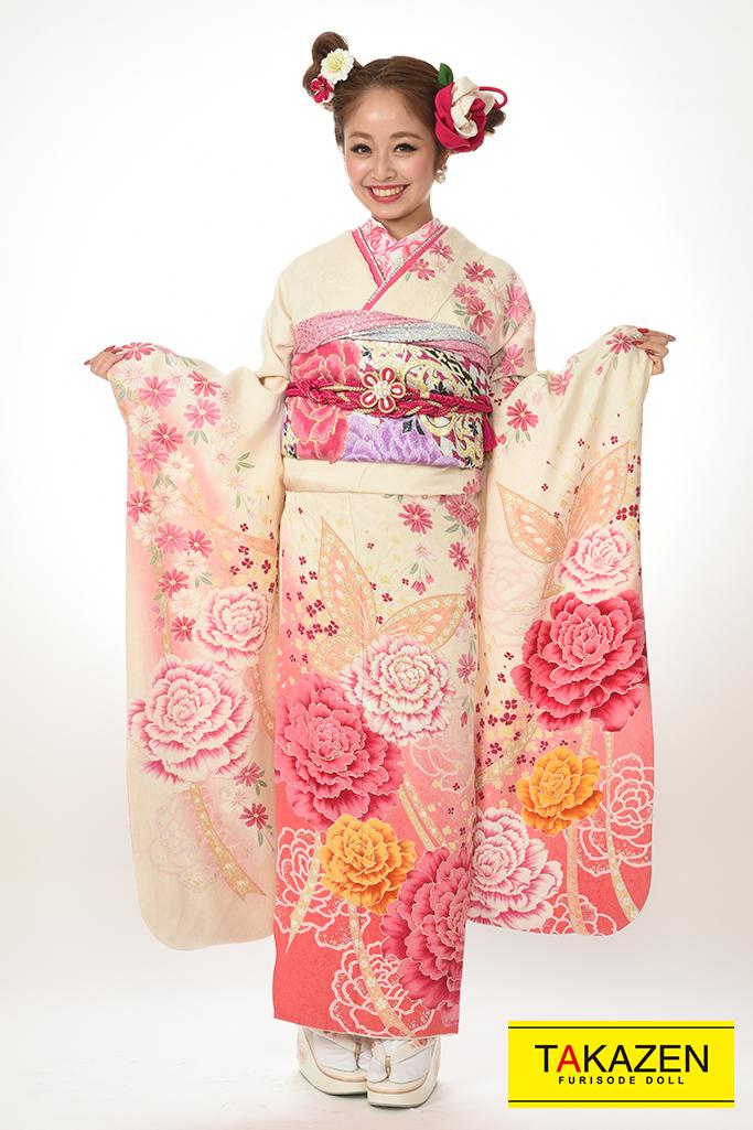 【成人式振着物/レンタルフルセット/通販可】安い/可愛い系(キュートなバラ柄) 白/ピンク♡Y8011