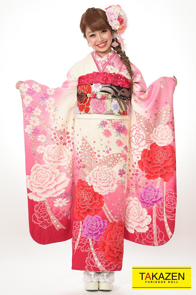 【成人式振袖/レンタルフルセット/通販可】格安/派手かわいい系(蝶々柄) 白/ピンク♡Y8013