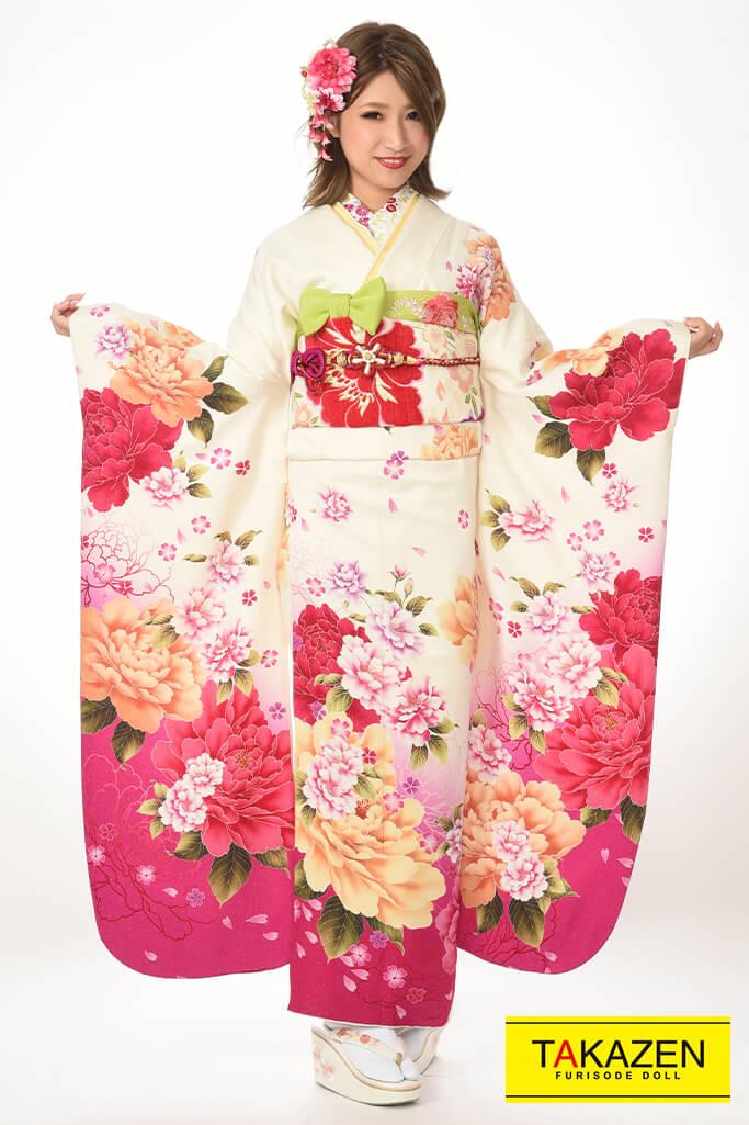 【成人式振袖/レンタルフルセット/通販可】おしゃれ/安い(かわいい花柄) 白/ピンク♡Y8015