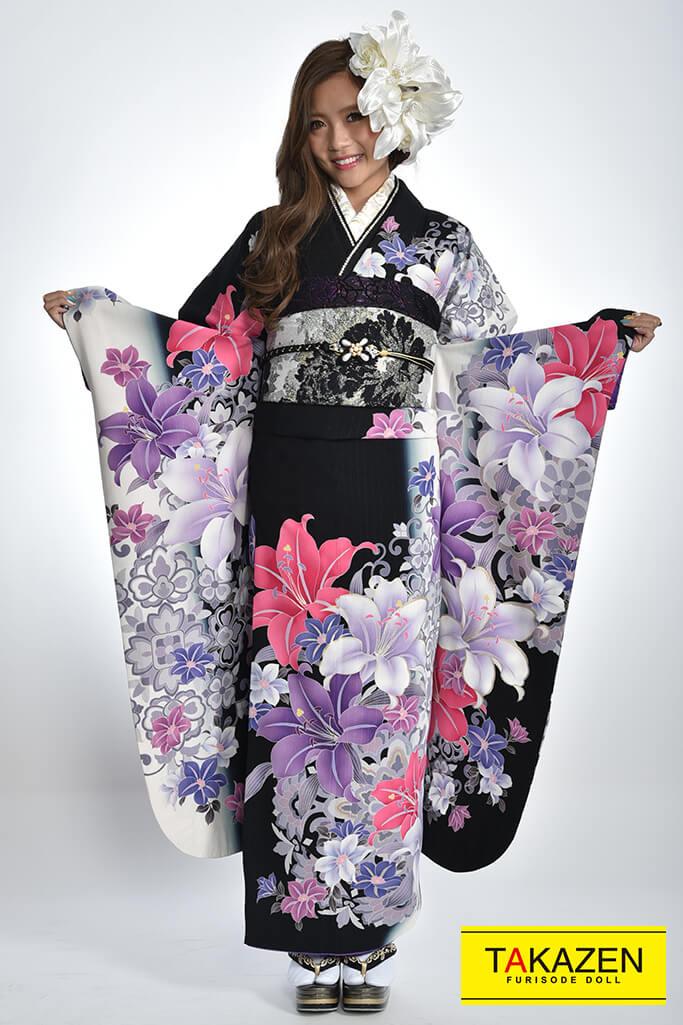 【成人式振袖/レンタルフルセット/通販可】安い/モード系(格安プライス) 黒/紫♡Y8019