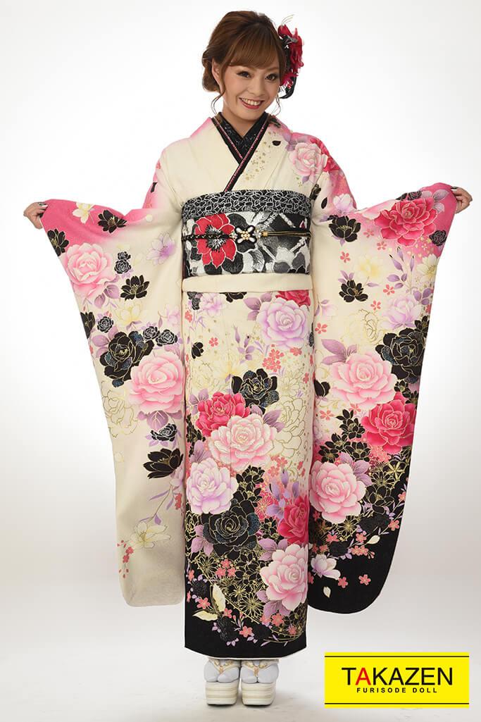 【成人式着物/レンタルフルセット/通販可】格安/かわいい系(華やかバラ柄) 白/ピンク/黒♡Y8020