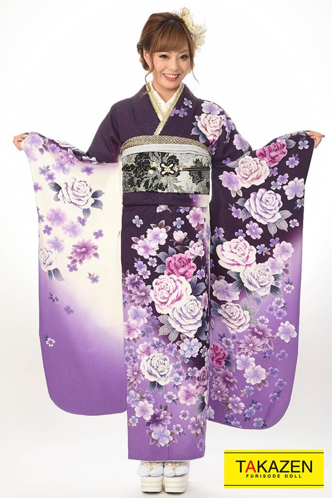 【成人式着物/レンタルフルセット/通販可】激安/かっこいい(激安フルセット) 白/紫♡Y8022