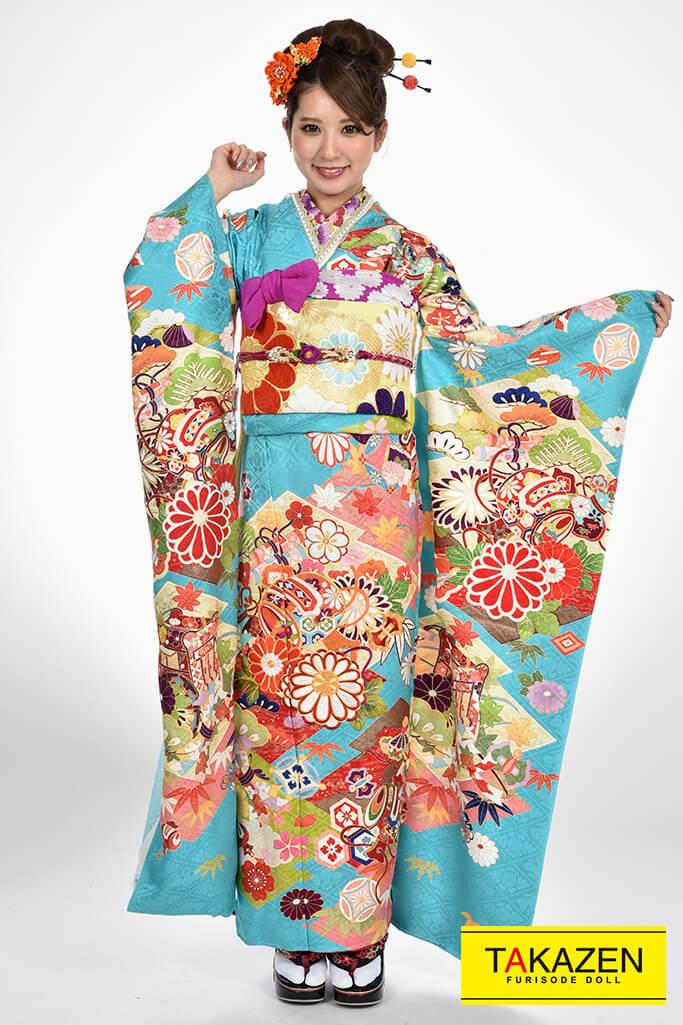 【成人式人気着物/レンタルフルセット/通販可】上品古典(豪華) 金彩刺繍京友禅 ピンク/ブルー(水色) 1枚限定商品♡YK0018