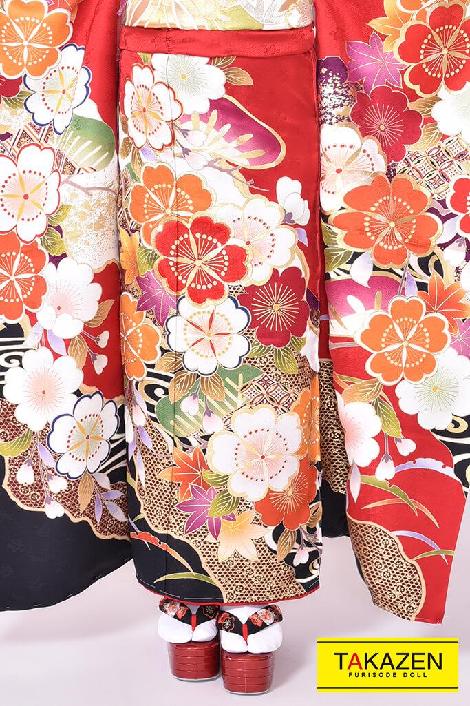 【成人式人気振袖/レンタルフルセット/通販可】上品古典(豪華) 赤/オレンジ♡YK0036