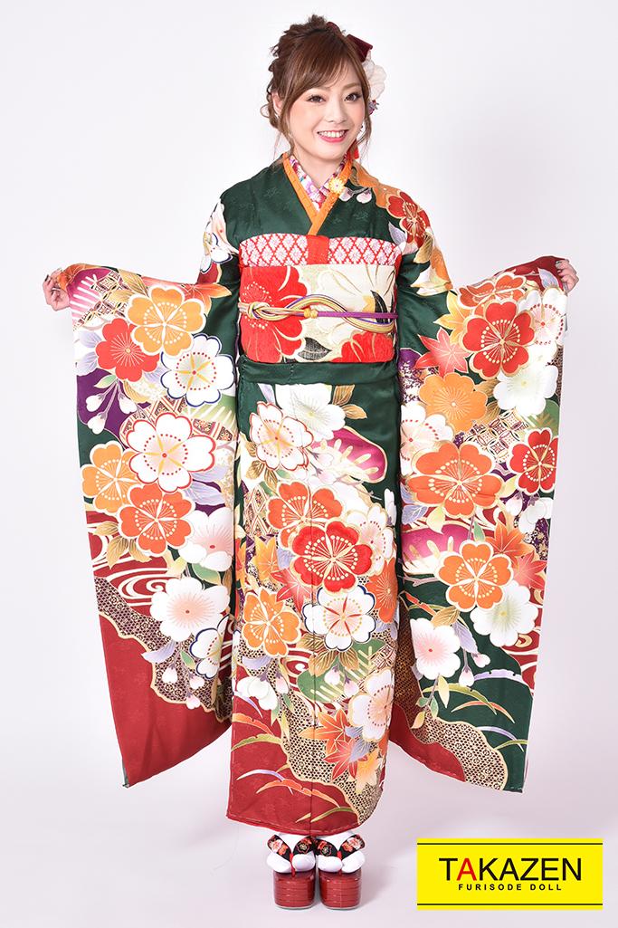 【成人式人気着物/レンタルフルセット/通販可】古典 赤/グリーン(緑色)♡YK0038