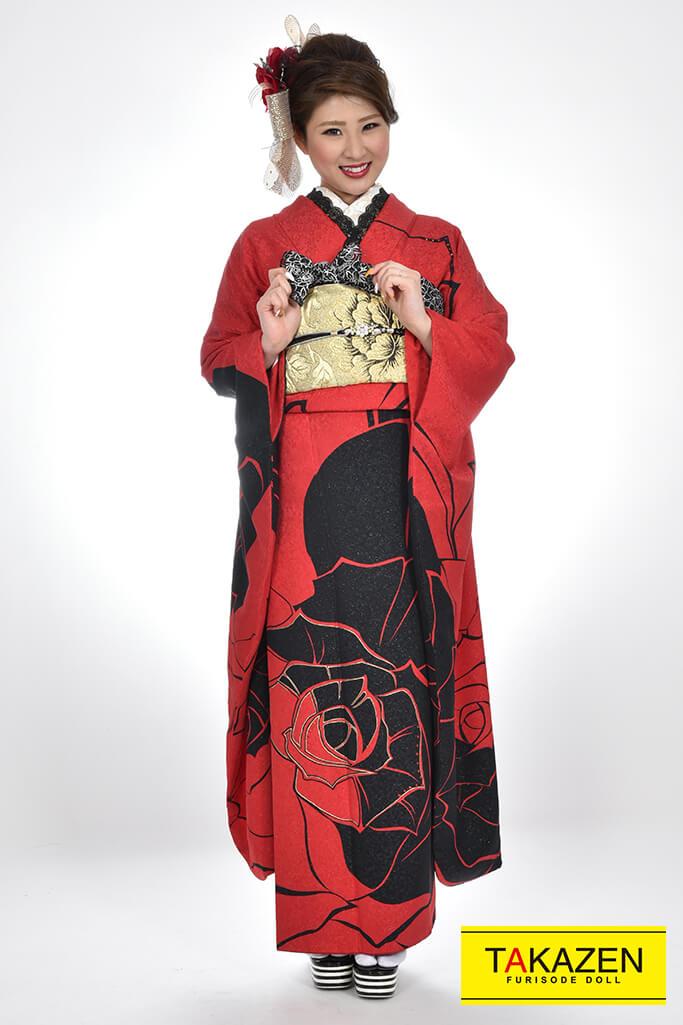 【成人式人気振袖/レンタルフルセット/通販可】大人気おしゃれモード(シンプル大柄) 黒/赤♡YK0054