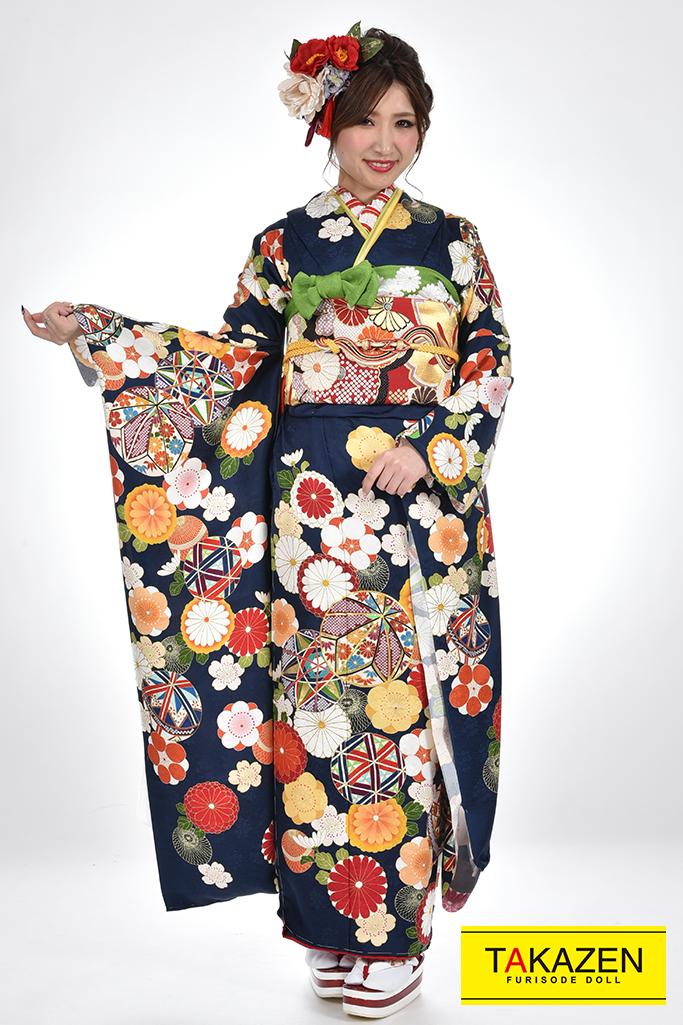 【成人式人気着物/レンタルフルセット/通販可】上品モダン古典(かわいいポップな花柄) 紺/ネイビー ♡YK0061