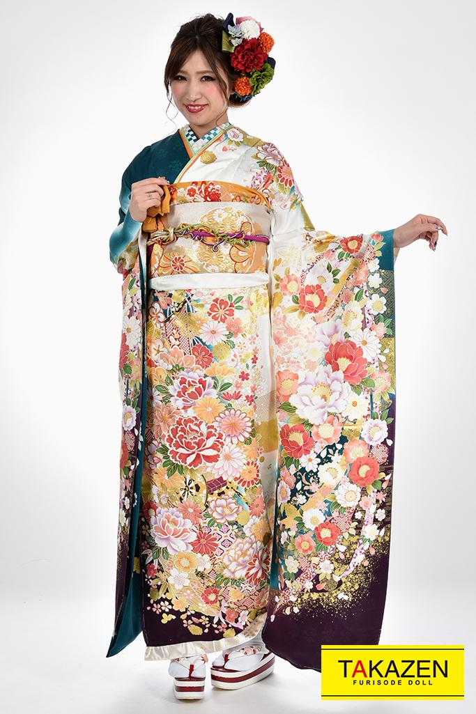 【成人式人気着物/レンタルフルセット/通販可】上品豪華古典(おしとやか綺麗) 白/グリーン(緑色) ♡YK0064