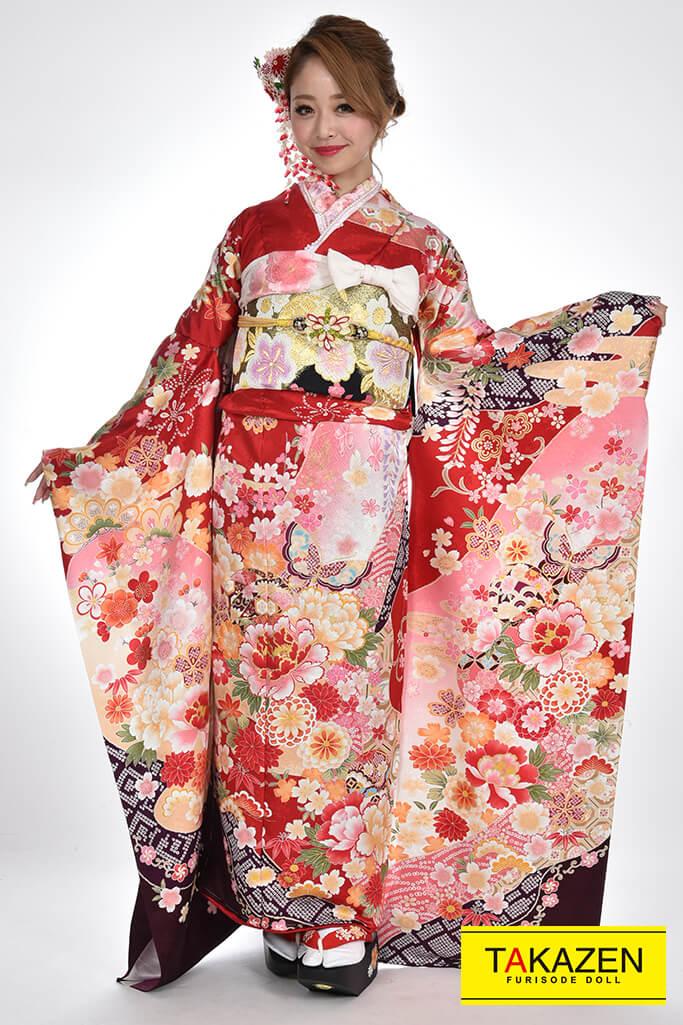【成人式人気振袖/レンタルフルセット/通販可】かわいい/上品古典(豪華) 白/赤ピンク♡YK0065