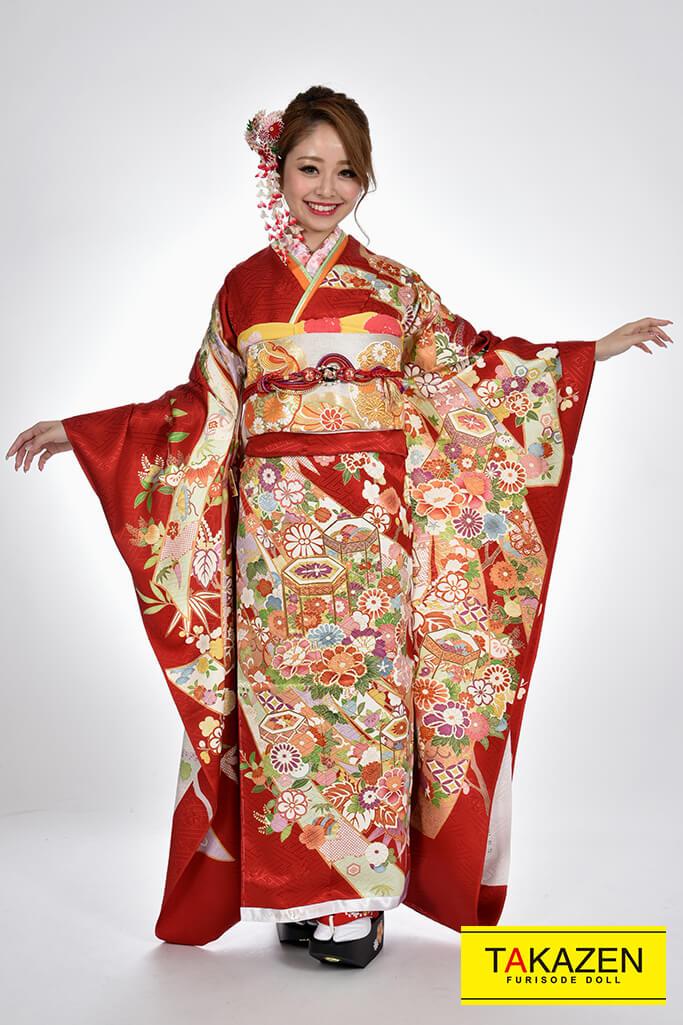 【成人式人気着物/レンタルフルセット/通販可】華やか上品古典(大人かわいい) 赤♡YK0072