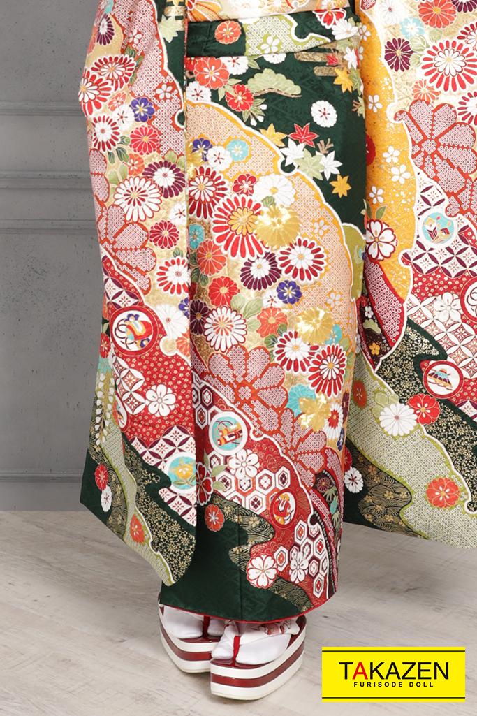 【成人式人気着物/レンタルフルセット/通販可】かわいい/上品古典(豪華) 緑/赤 YK0085