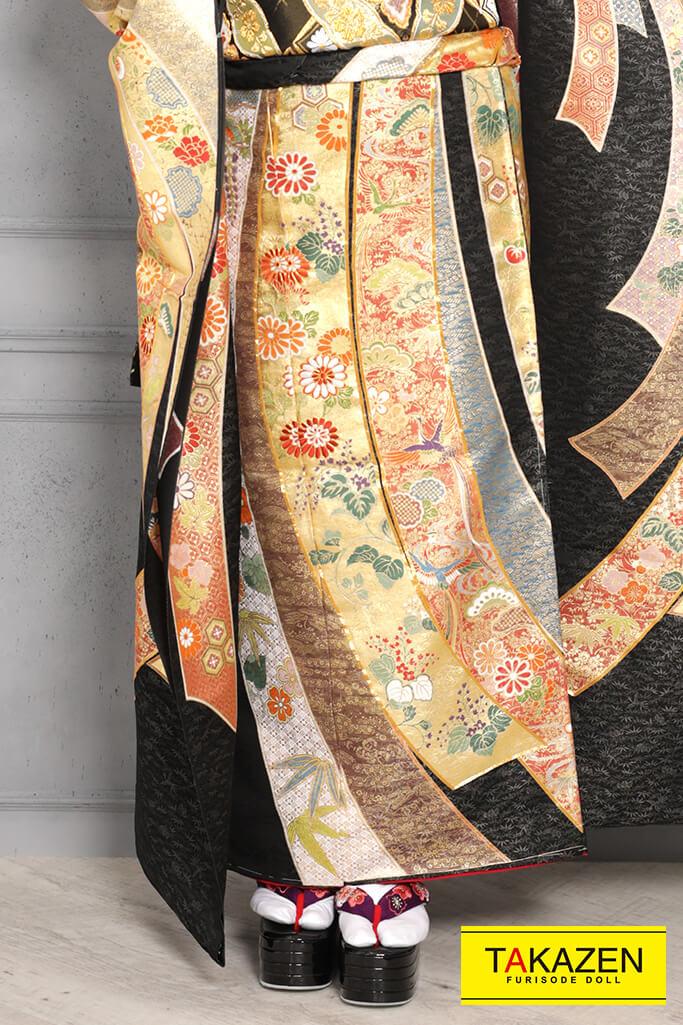 【成人式人気着物/レンタルフルセット/通販可】最高級/上品古典(豪華ジャパンモード) 黒/ゴールド(金色) YK0089